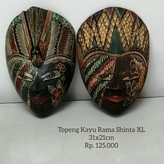 Topeng Kayu Lukis Batik Rama Shinta