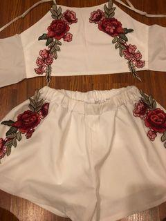 2 piece white embroidery floral top and shorts set