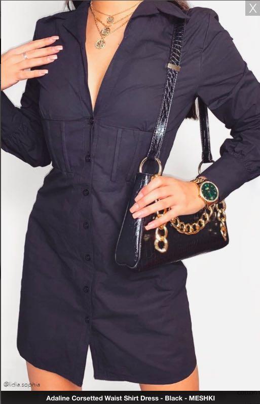 Meshki Adaline  corsetted Waist Shirt Dress Black