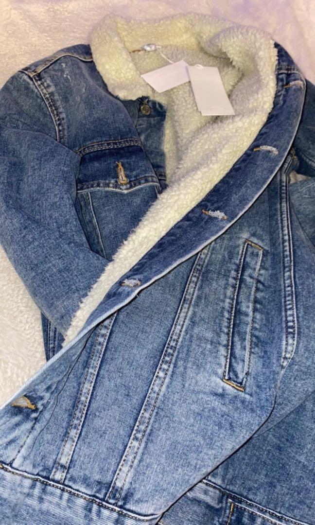 Denim fur coated jacket
