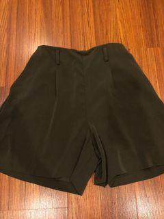 Green flowy shorts