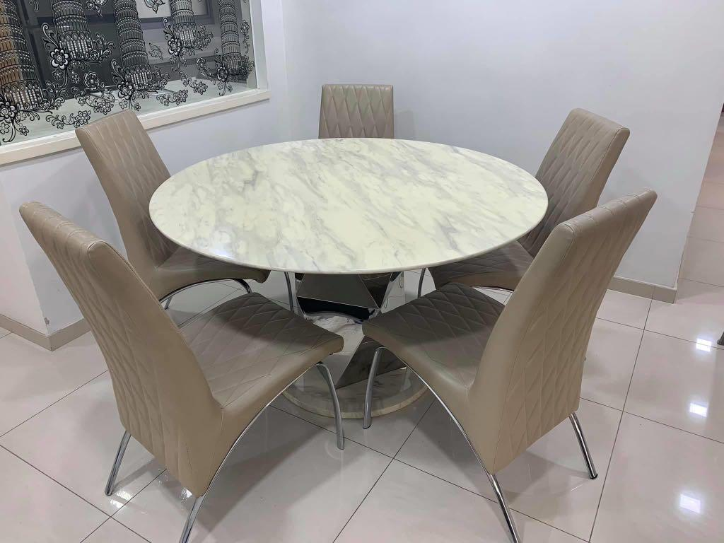 USED marble dining table with 9 chairs for SALE, Furniture ...