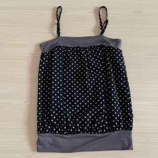 Black polka dots spag/cami top