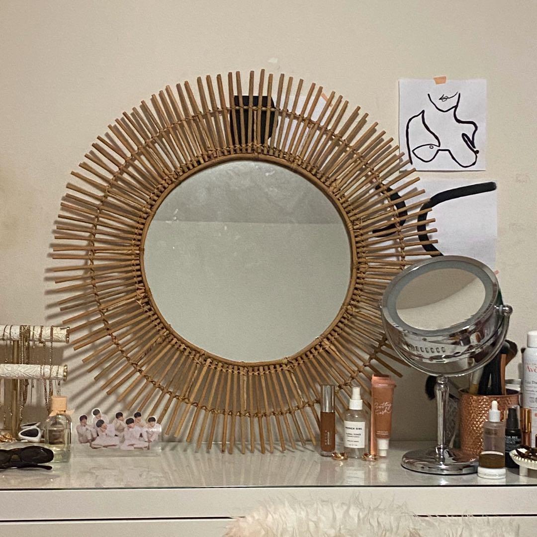 boho mid century vintage rattan wicker wooden round mirror