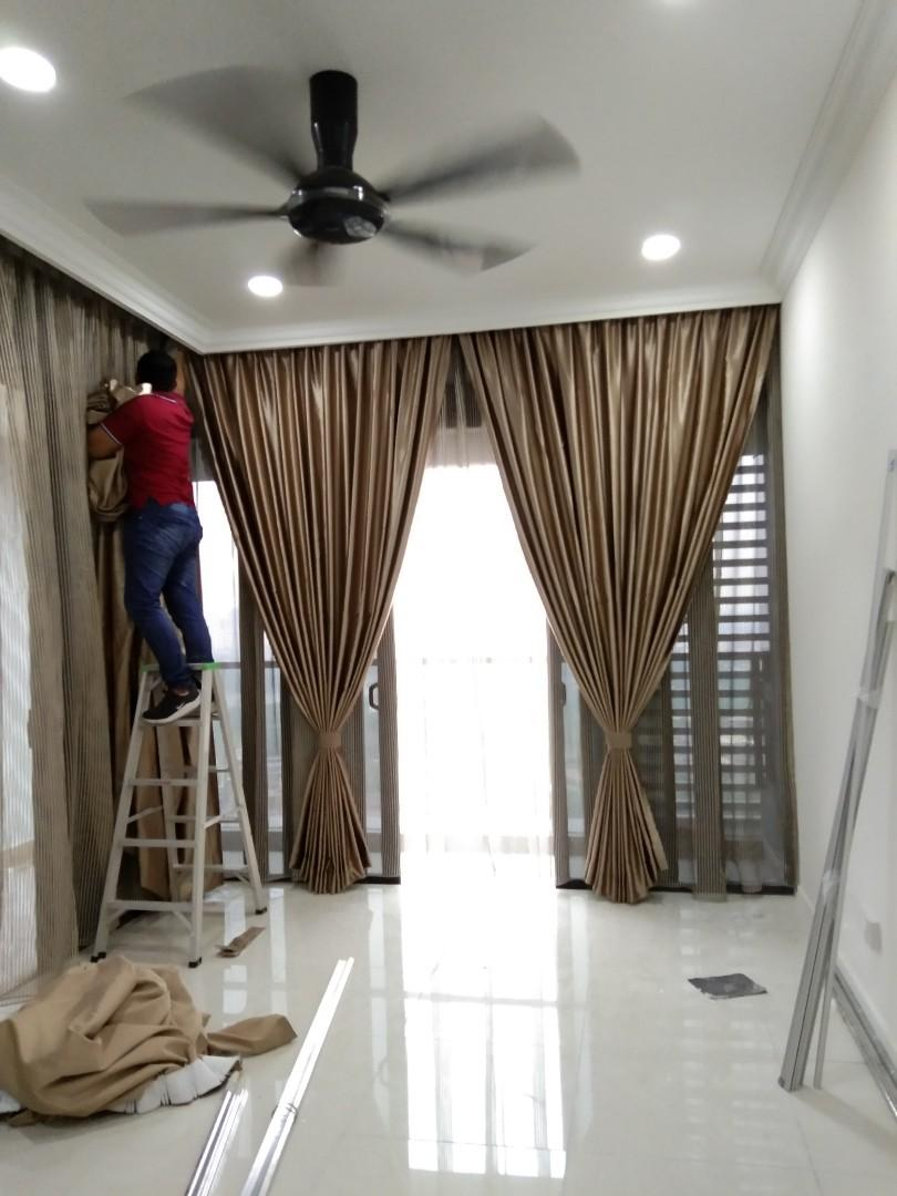 Drill Upah Pasang Langsir Service Drill Curtain Home Furniture Others On Carousell