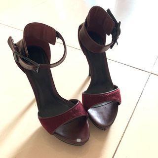 Maroon Ankle Strap Heels