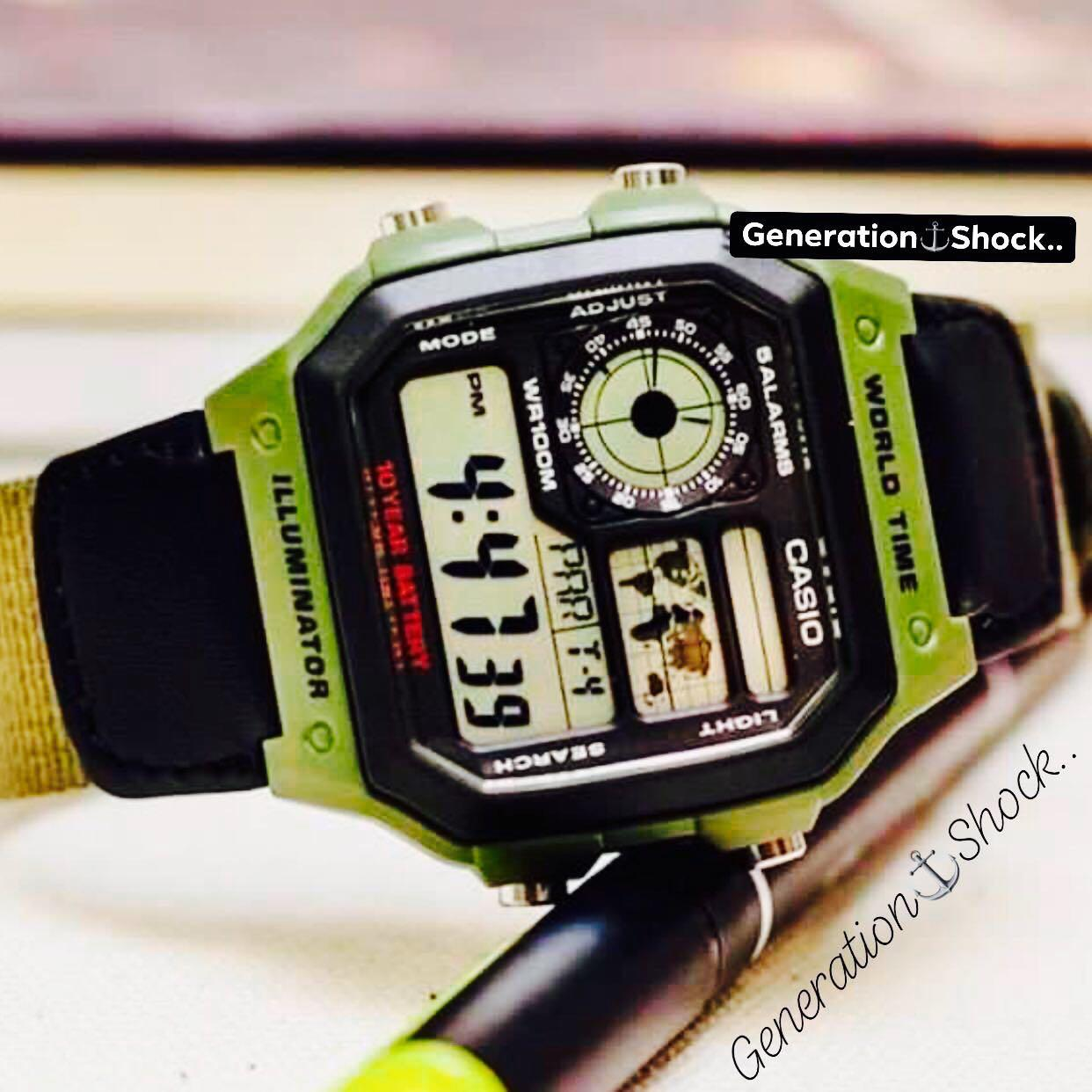 NEW🌟TOUGH CASIO UNISEX SPORTS WATCH : 100% ORIGINAL AUTHENTIC : By BABY-G-SHOCK ( BABYG GSHOCK ) COMPANY : AE-1200WHB-3BVDF / DW-5600BBN-1DR Series (MILITARY GREEN RAINFOREST)
