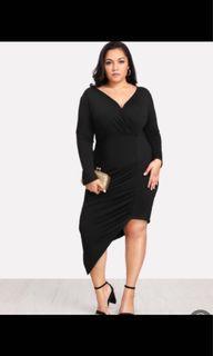 Plus size 2X (22w) curvy jersey asymmetrical dress