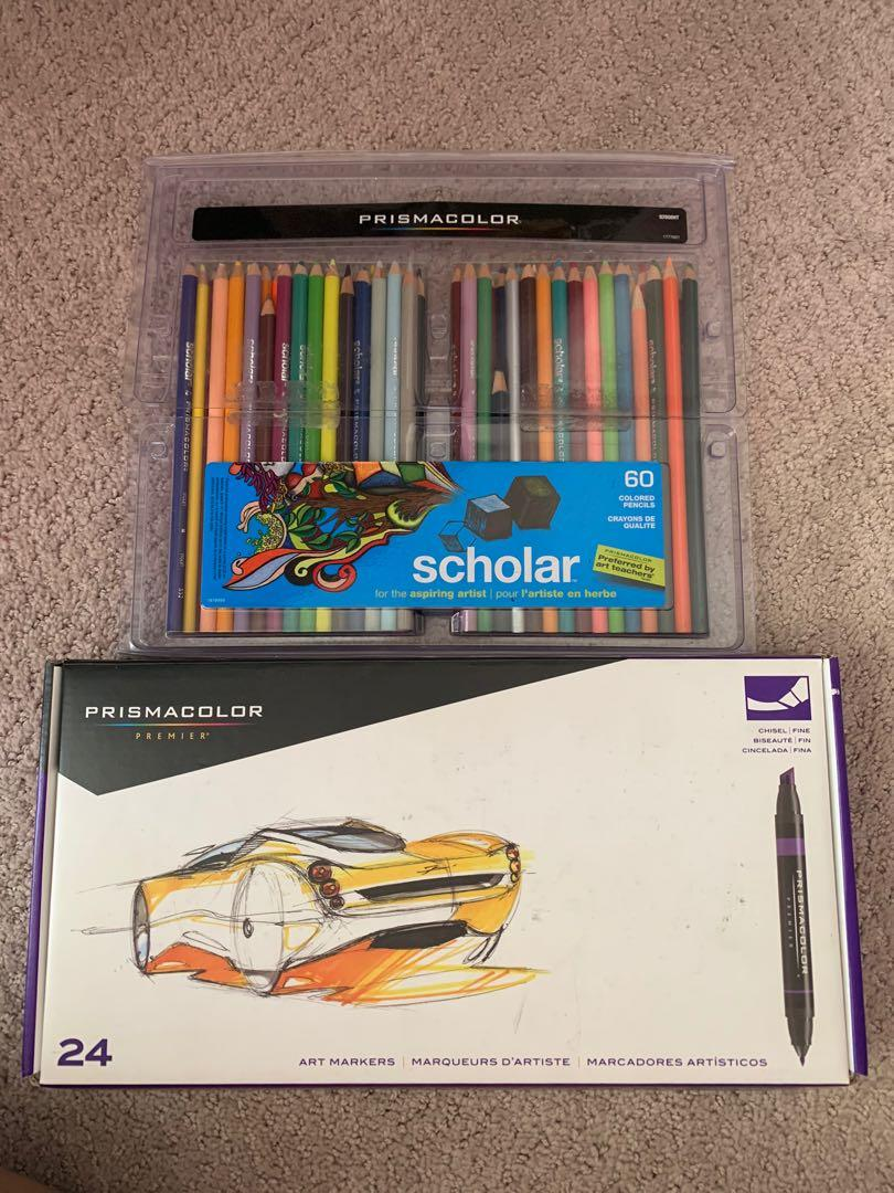 Prismacolor Markers 24pc Set and Colored Pencils 60 pc