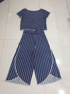 Stelan biru strip putih, bahan Linen