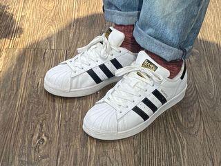 Adidas superstar 金標 白底黑線經典款 三葉草