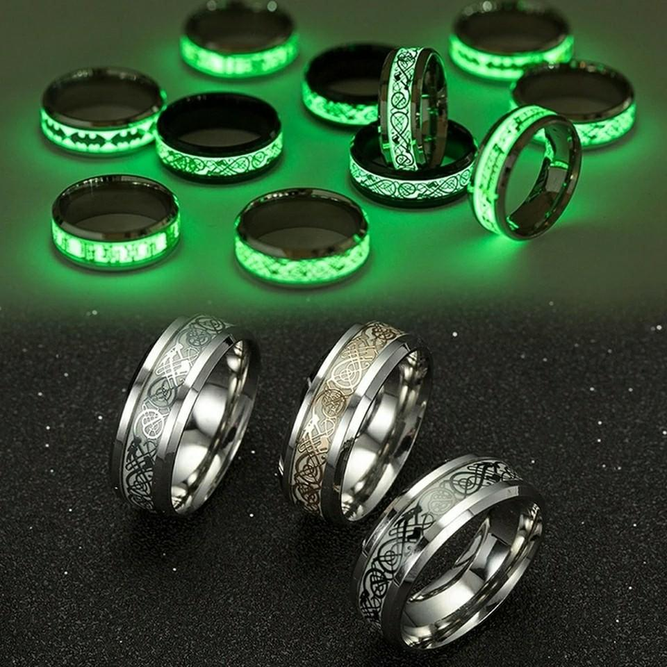Luminous Ring Black Fashion Man Minimalist Stainless Steel Ring Glowing Ring couple in the Dark Jewelry Black domineering