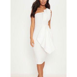 Pretty Little Thing (PLT) White One Shoulder Pleated Detail Midi Dress