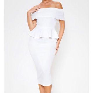 Pretty Little Thing (PLT) White Bardot Peplum Midi Dress