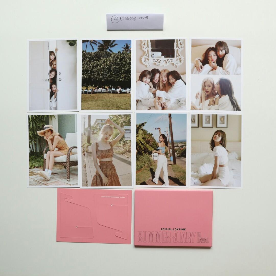WTS BLACKPINK 2019 SUMMER DIARY IN HAWAII POSTCARD SET (8 CARDS) + STAND