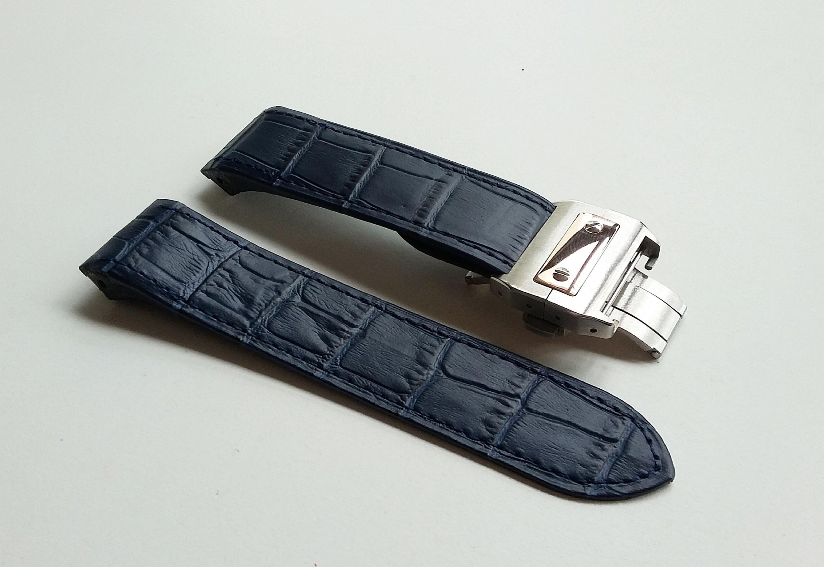 23mm HAND SEWN MIDNIGHT BLUE CALF LEATHER (EMBOSSED CROCODILE GRAIN) STRAP WITH STEEL CLASP FOR CARTIER SANTOS 100
