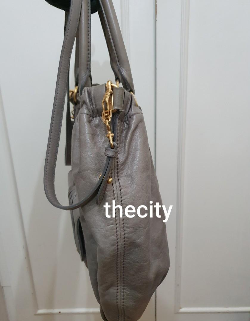AUTHENTIC MIU MIU 2-WAY  CALFSKIN LEATHER TOTE BAG - COMES WITH ORIGINAL MIU MIU LONG STRAP FOR CROSSBODY SLING - LEATHER IN GOOD CONDITION,  CLEAN INTERIOR - OVERALL GOOD - WITH PRODUCT ID CARD - (BOUGHT OVER RM 6000+)