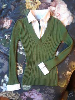 Cable knit stretchy leaf sap green white collar long sleeve sweater preppy office small