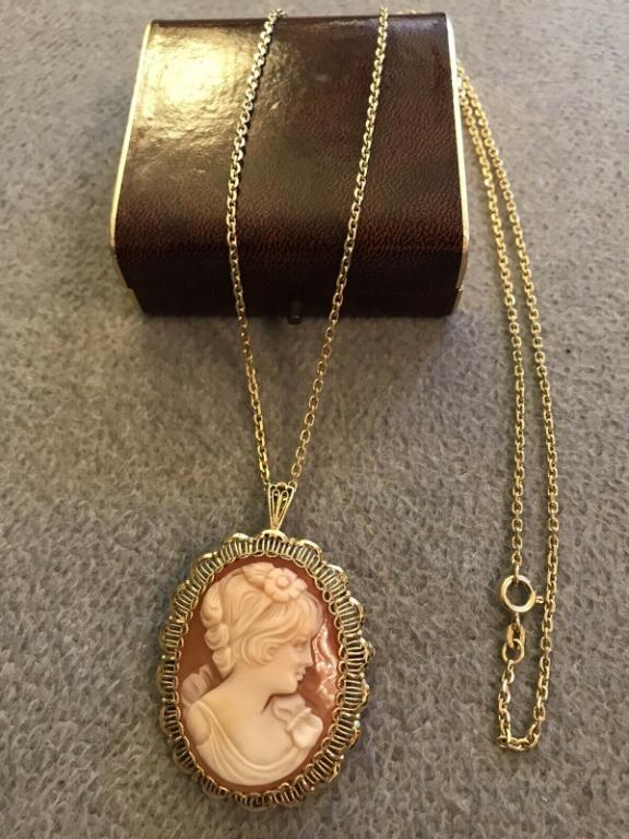 Chain gold 585 pendant Gemme Muschelgemme with certificate