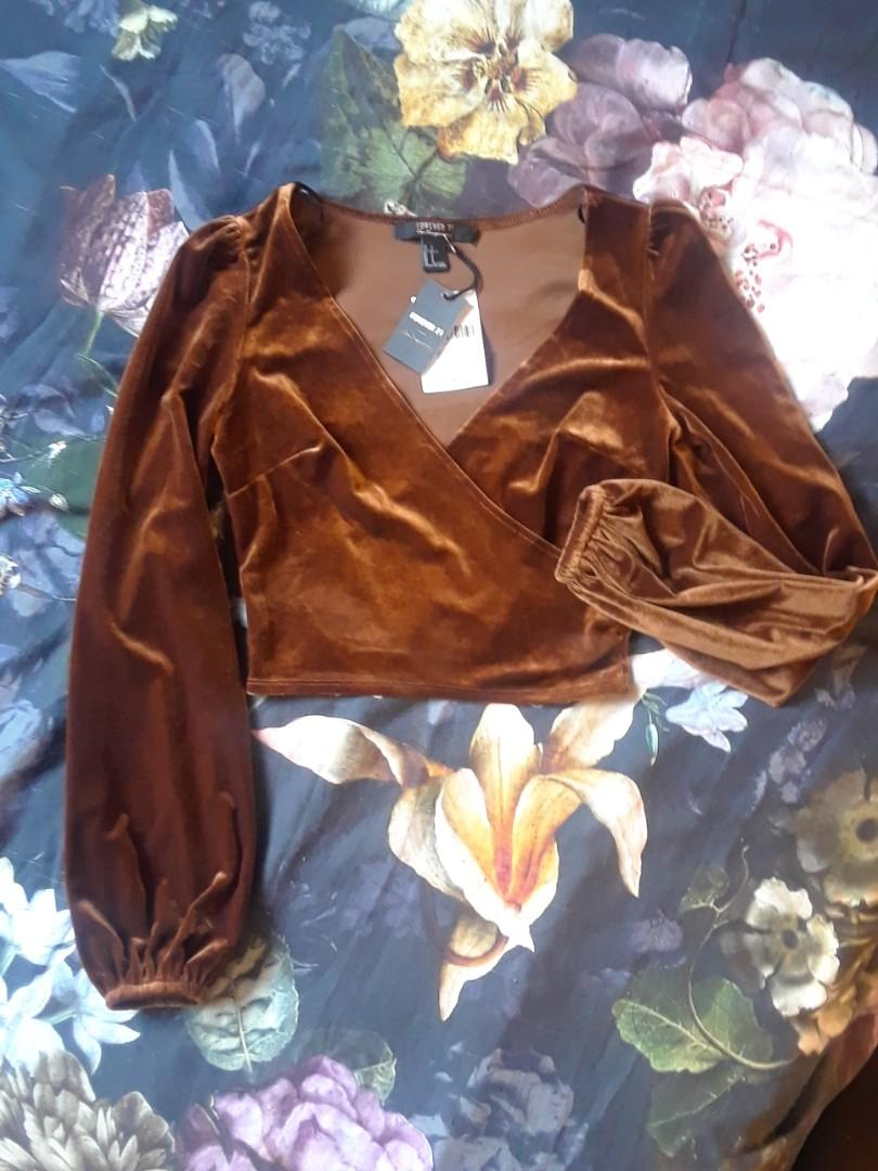 Forever 21 F21 brown bronze velvet balloon puff sleeve wrap top long sleeve blouse small