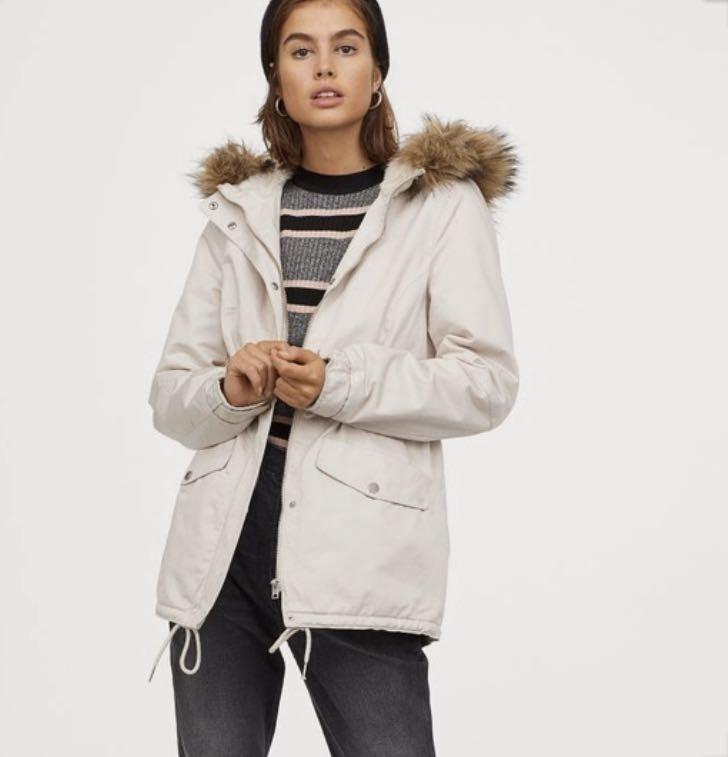 H M Fleece Lined Fur Hood Winter Jacket, H M Black Coat Fur Hood