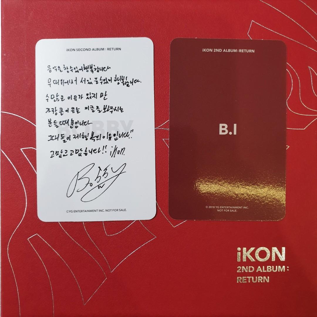 Official Photocard Bobby & BI - IKON 2nd Album: RETURN