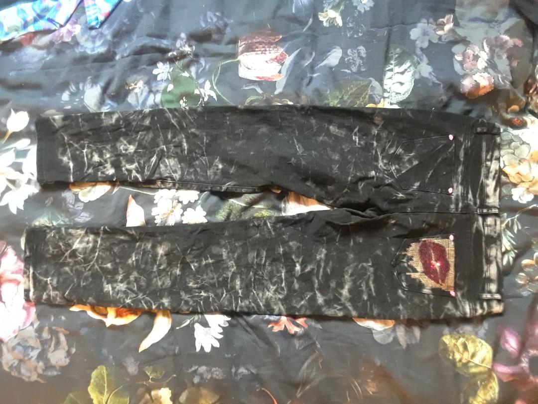 "Tye dye black jeans pink lips button kiss detail deco sequins Small medium 28"""