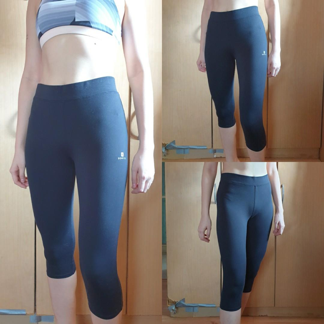 Decathlon Domyos Size S Black Capri Cotton Active Workout Leggings Sports Athletic Sports Clothing On Carousell