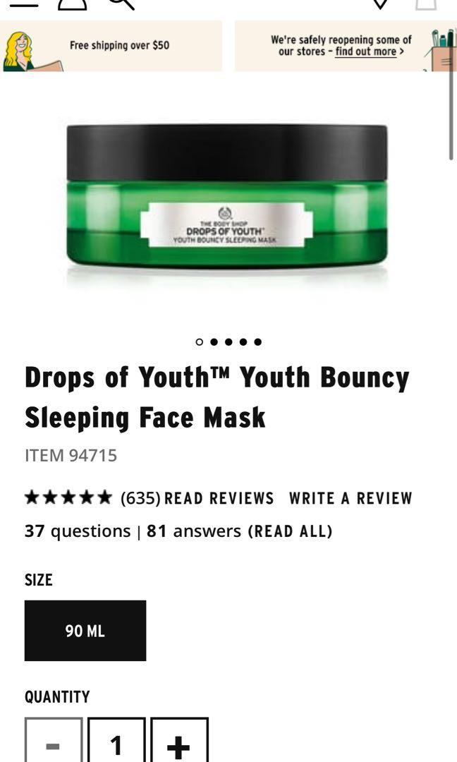 Drops of youth sleeping mask