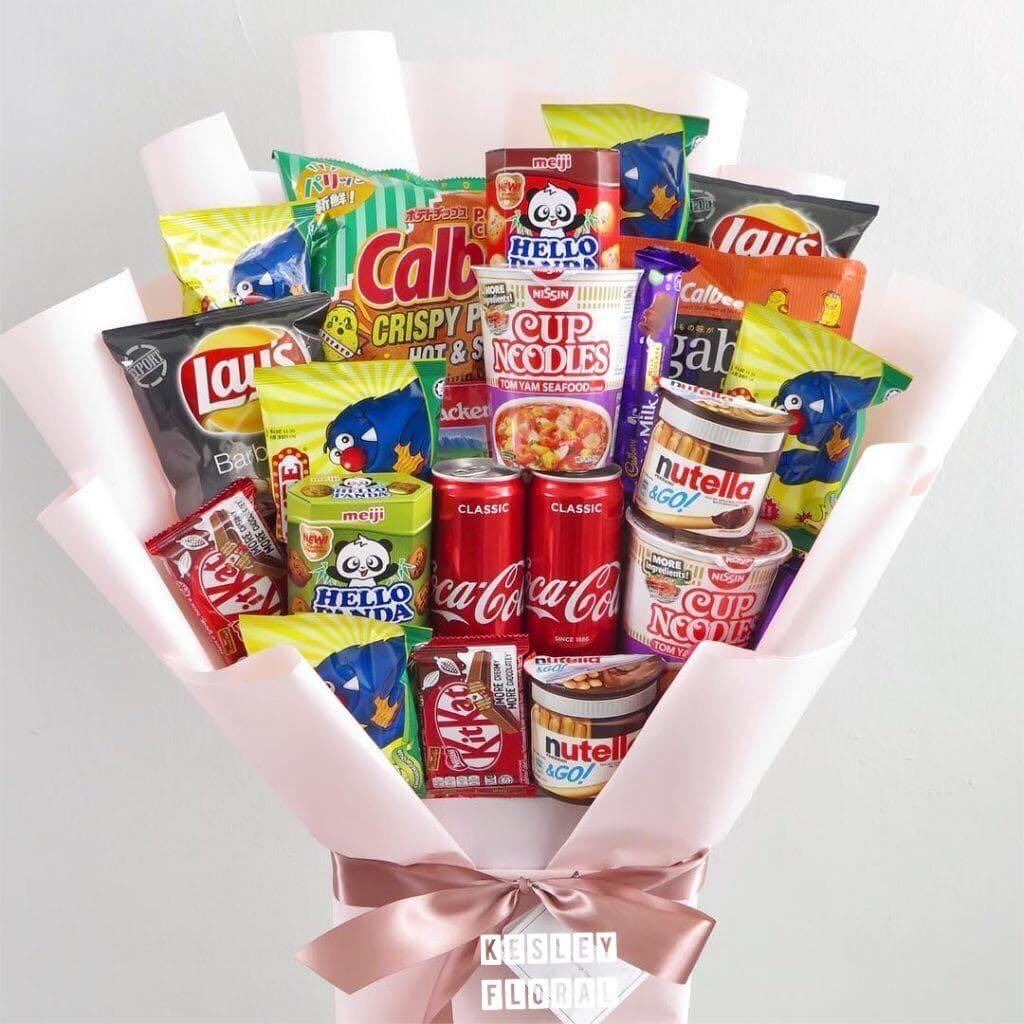 Fast Order Hot Selling Free Delivery Father S Day Snacks Pack Bouquet Food Drinks Packaged Snacks On Carousell