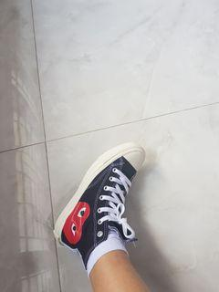 REJECT cdg play converse black high top NEW