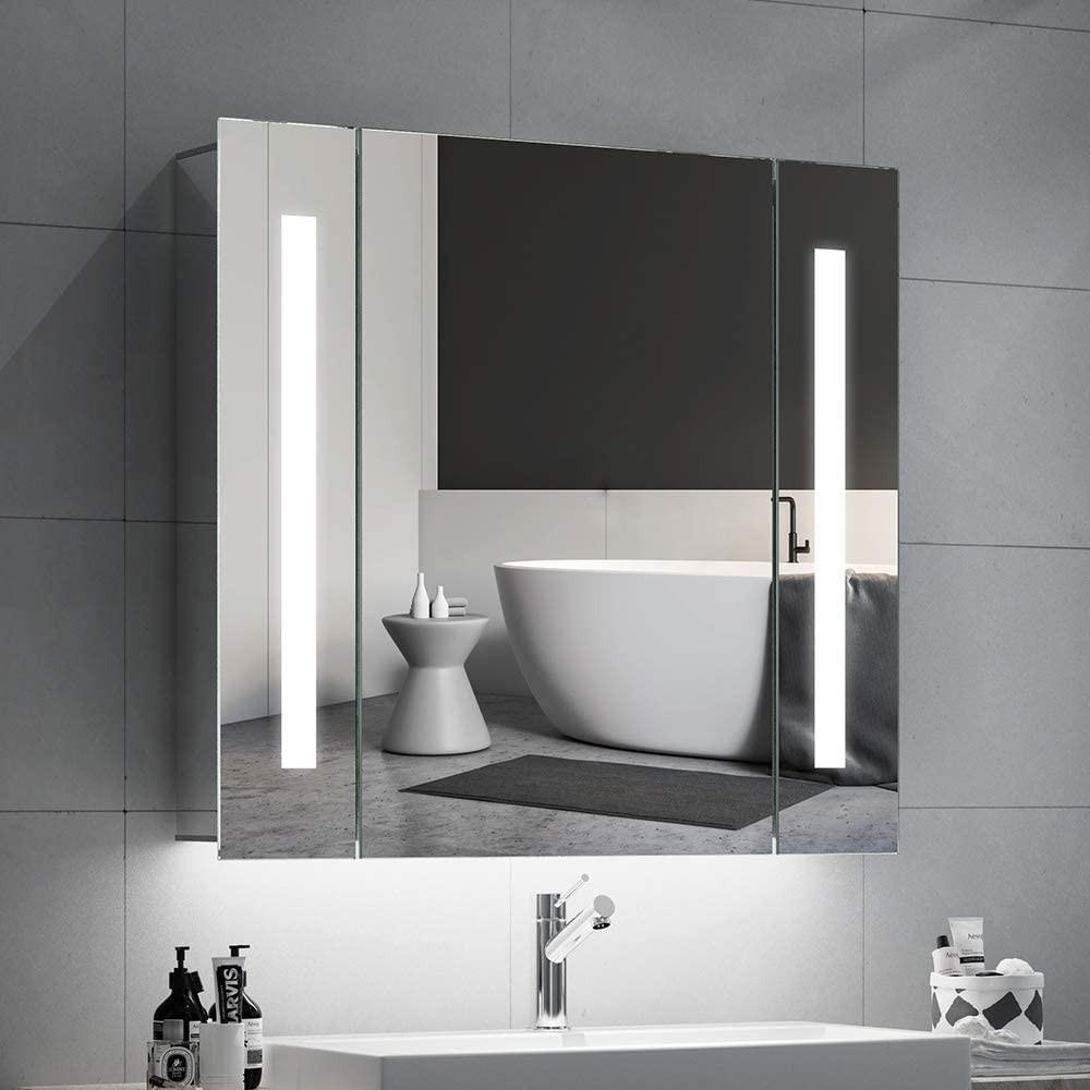 Quavikey Bathroom Mirror Cabinets Led Illuminated Mirrored Furniture Home Living Home Decor Mirrors On Carousell