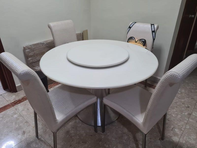 Round White Marble Dining Table C W Lazy Susan Furniture Tables Chairs On Carousell