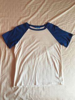棒球短袖T恤 藍邊白t