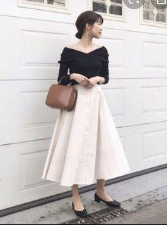 UNIQLO法式優雅圓點裙(白)