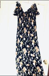 Net 夏日 深藍 一字領 花朵 長洋裝