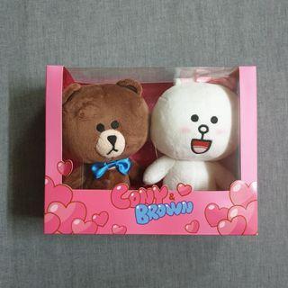 正版 LINE FRIENDS 熊大 兔兔 情侶組絨毛玩偶 18cm Cony & Brown