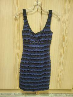 Blue and black patch dress