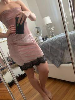 Blush Pink Velvet Dress with Black Lace Trimming - Size S