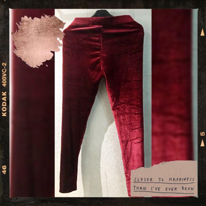 Celana Legging Tebal Bludru Premium Fesyen Wanita Pakaian Wanita Bawahan Di Carousell