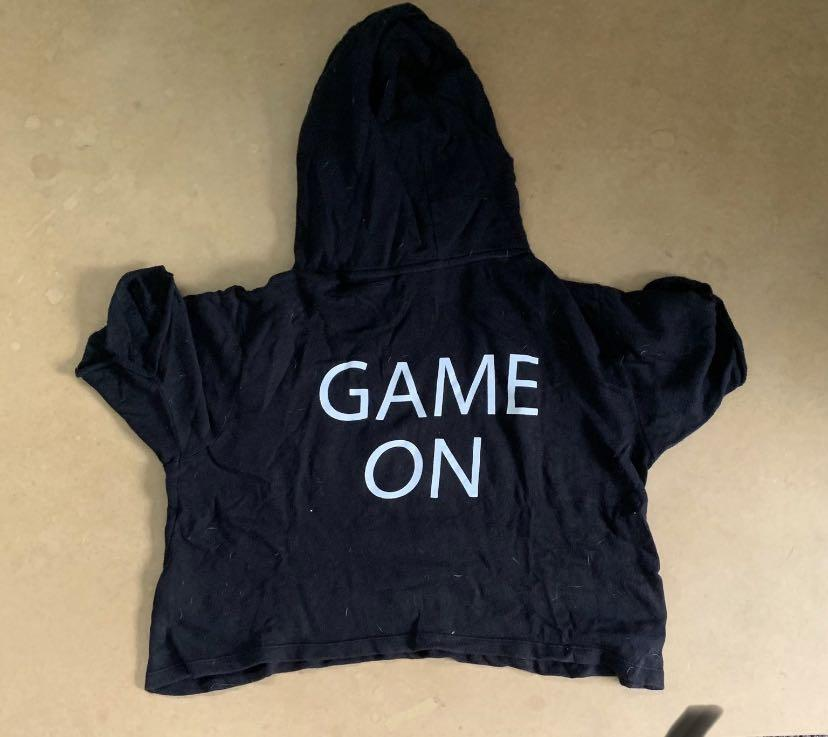 Game on cropped hoodie