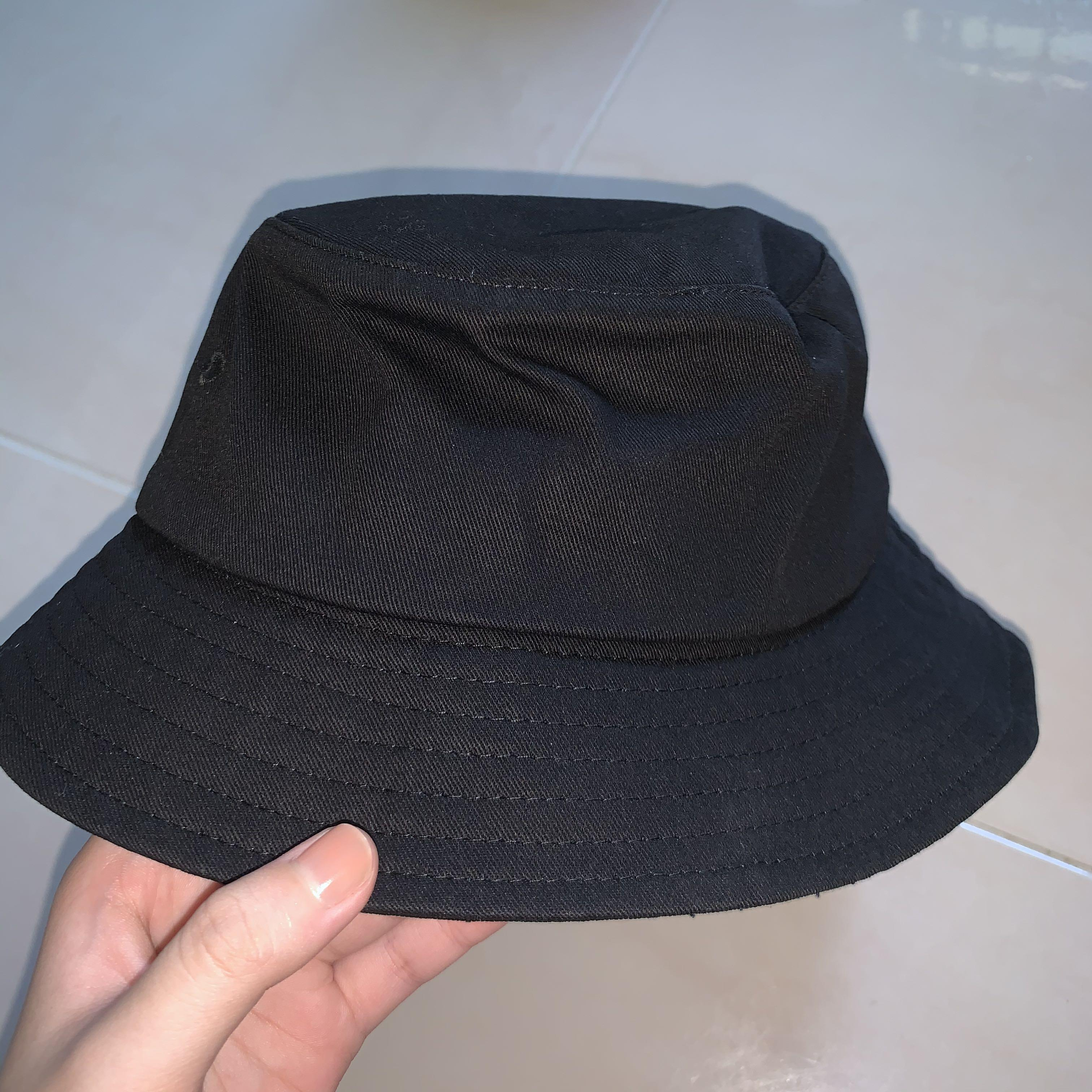 Plain Bucket Hat Black Men S Fashion Accessories Caps Hats On Carousell