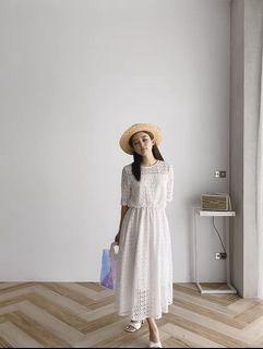 Pure white xotton dress maxi dress