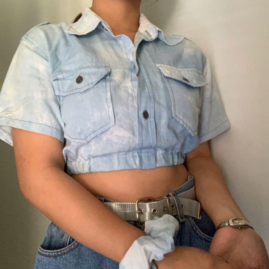 reworked acid washed button up polo w/ scrunchie