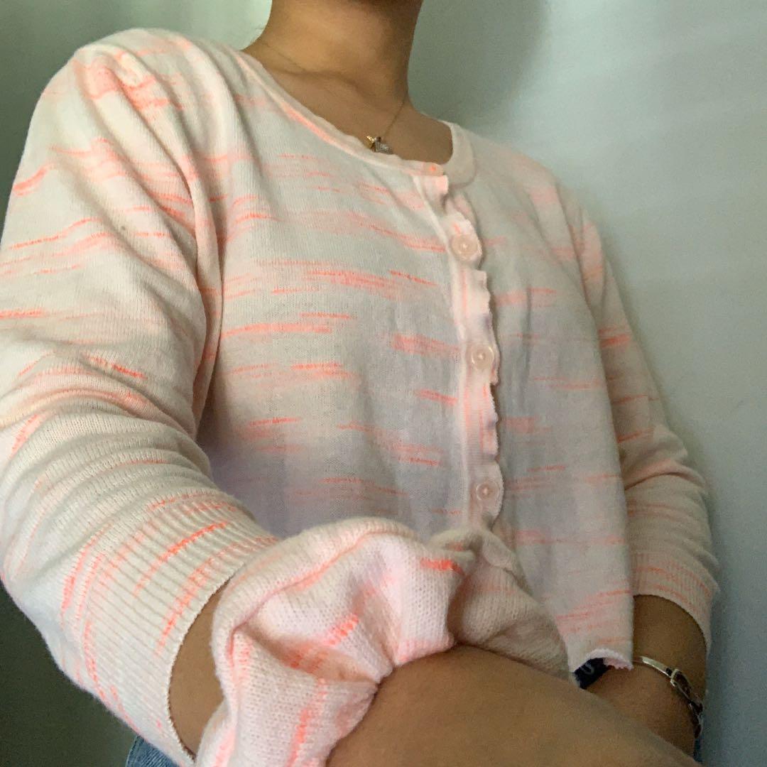 reworked cotton candy cardigan w/ scrunchie
