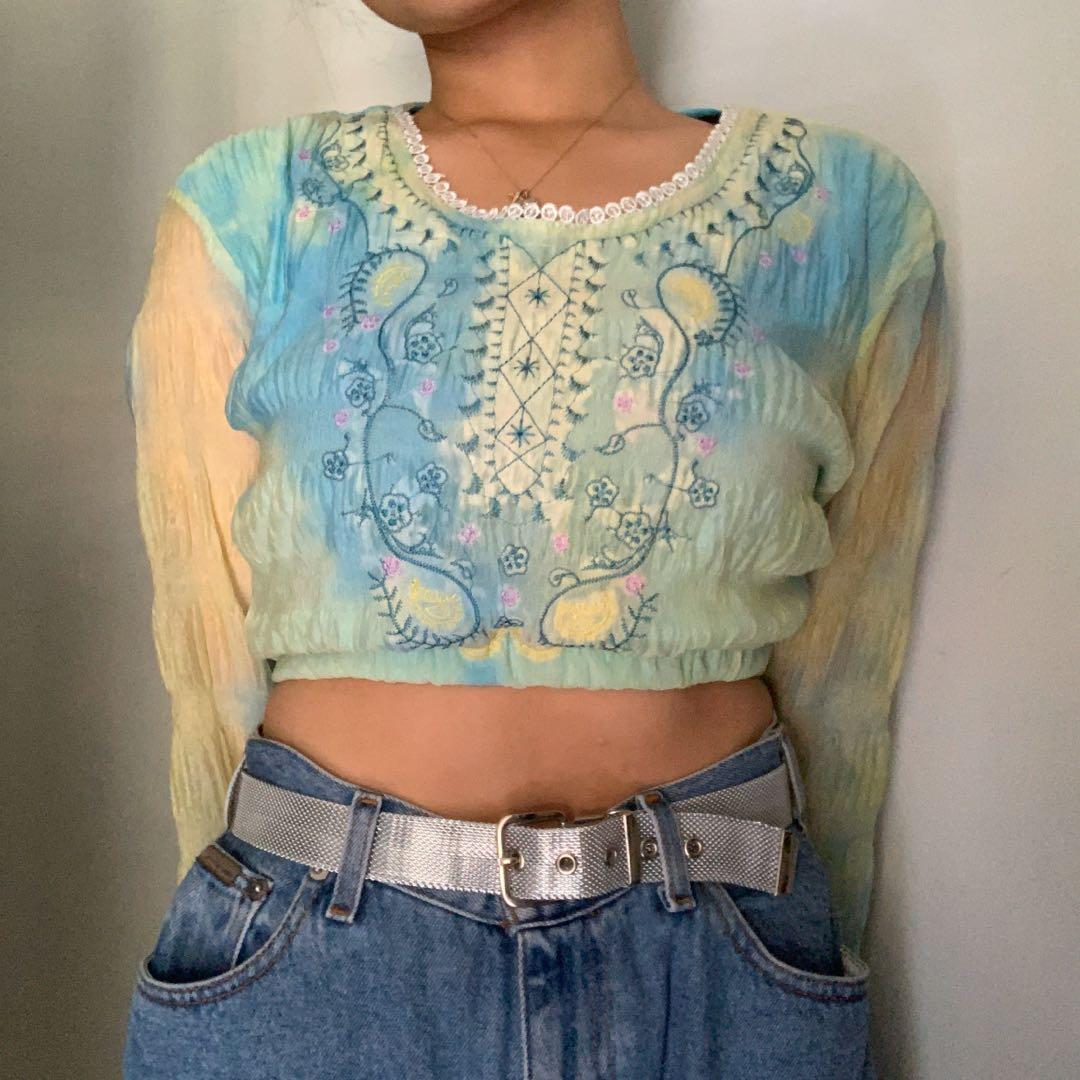 reworked dreamy chiffon top w/ scrunchie