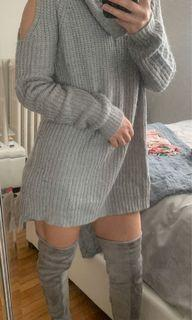 Sweater Dress with Cut-out Shoulders - Size S