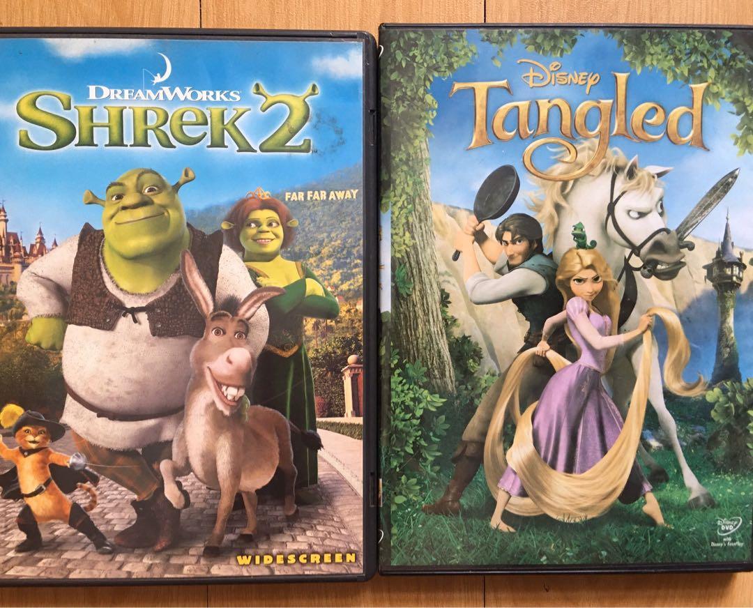 Tangled And Shrek 2 Paired Music Media Cd S Dvd S Other Media On Carousell