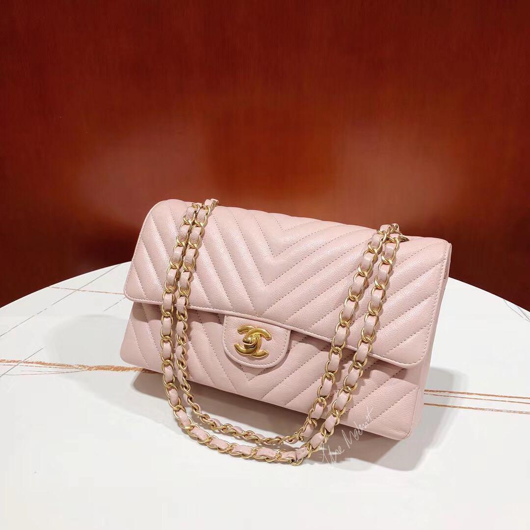 Authentic Chanel Medium Chevron Sakura Pink Caviar Leather Double Flap Gold Hardware