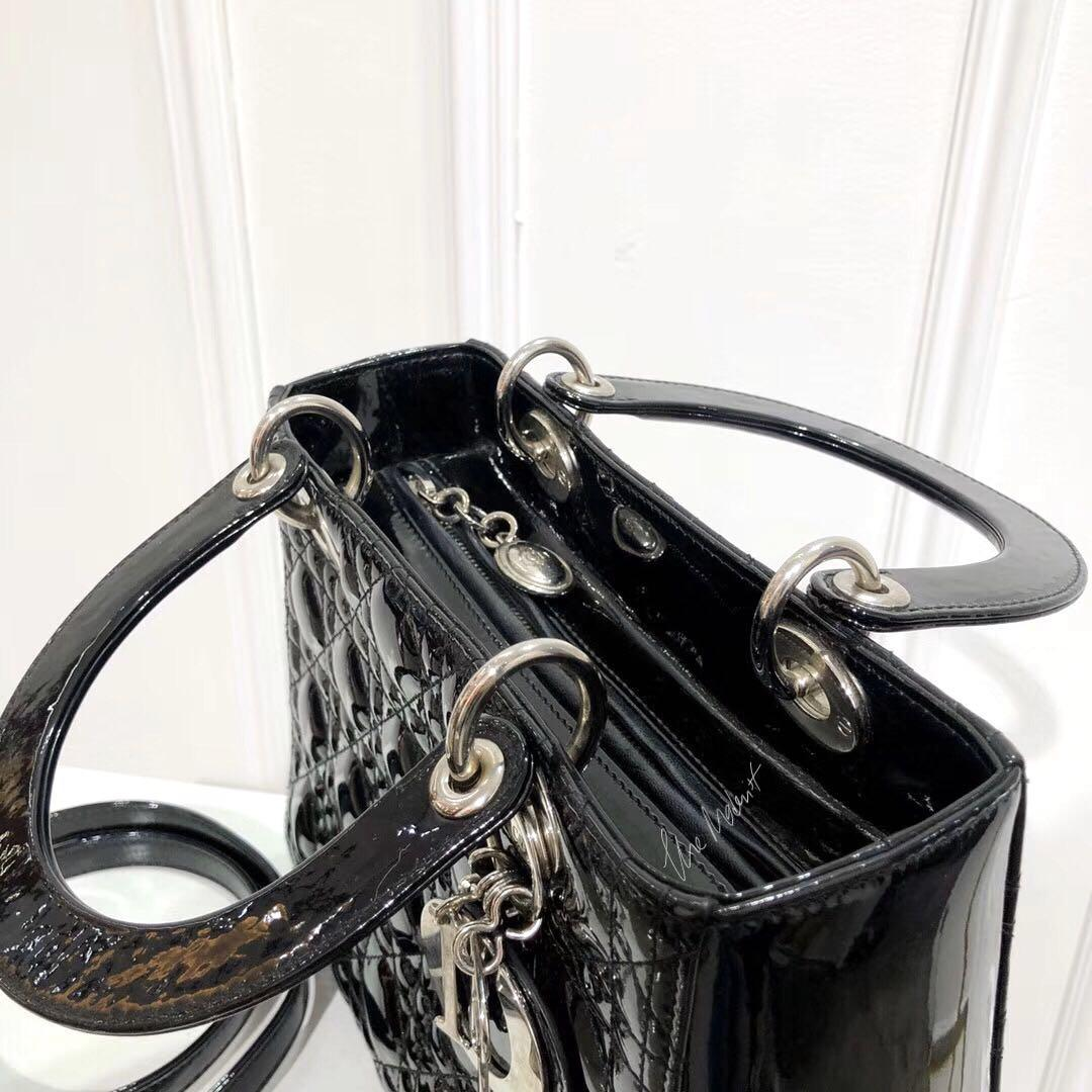 Authentic Christian Dior Medium Black Patent Leather Lady Dior Silver Hardware